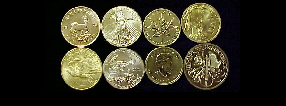 Gold Krugerrands, American Eagles and gold coins