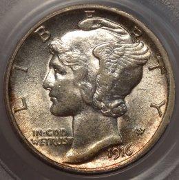 Key Date AU58 PCGS 1916-D Mercury Dime $12,995.00