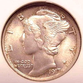 Popular brilliant unc. 1917-P Mercury dime!