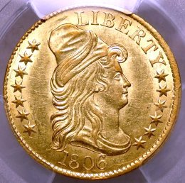 Capped Bust $5 gold half eagle $16,995.00