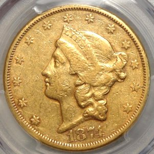 1874-CC $20 Gold Coin $3,595.00