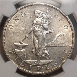 RARE High Grade 1906-S Philippine Peso  $13,995.00