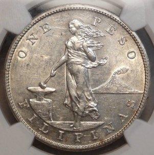 Very RARE 1906-S Philippine Peso  $12,995.00