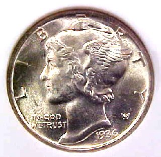 Pretty 1936-S Mercury Dime!