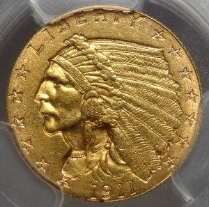 Certified PCGS 1911-D $2-1/2  Quarter Eagle