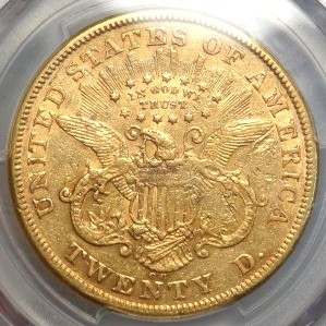 (reverse)1874 Carscon City $20 Gold Coin