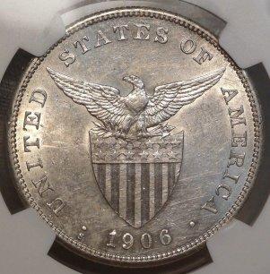 (reverse)RARE High Grade 1906-S Philippine Peso  $13,995.00