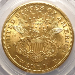 (reverse)Old West 1875-CC $20 Carson City Gold MS61 (PCGS)